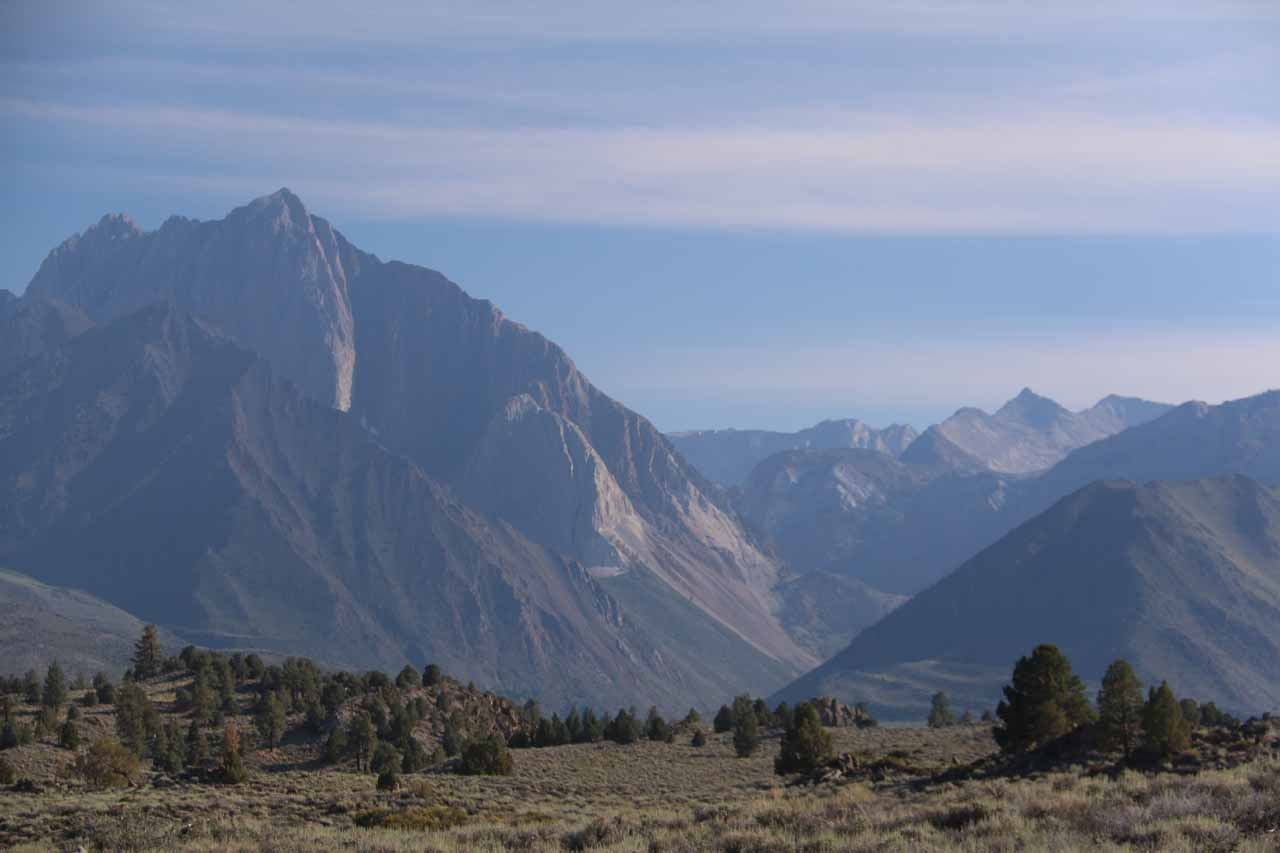Looking towards the mountains of the Eastern Sierra from the car park for Hot Creek