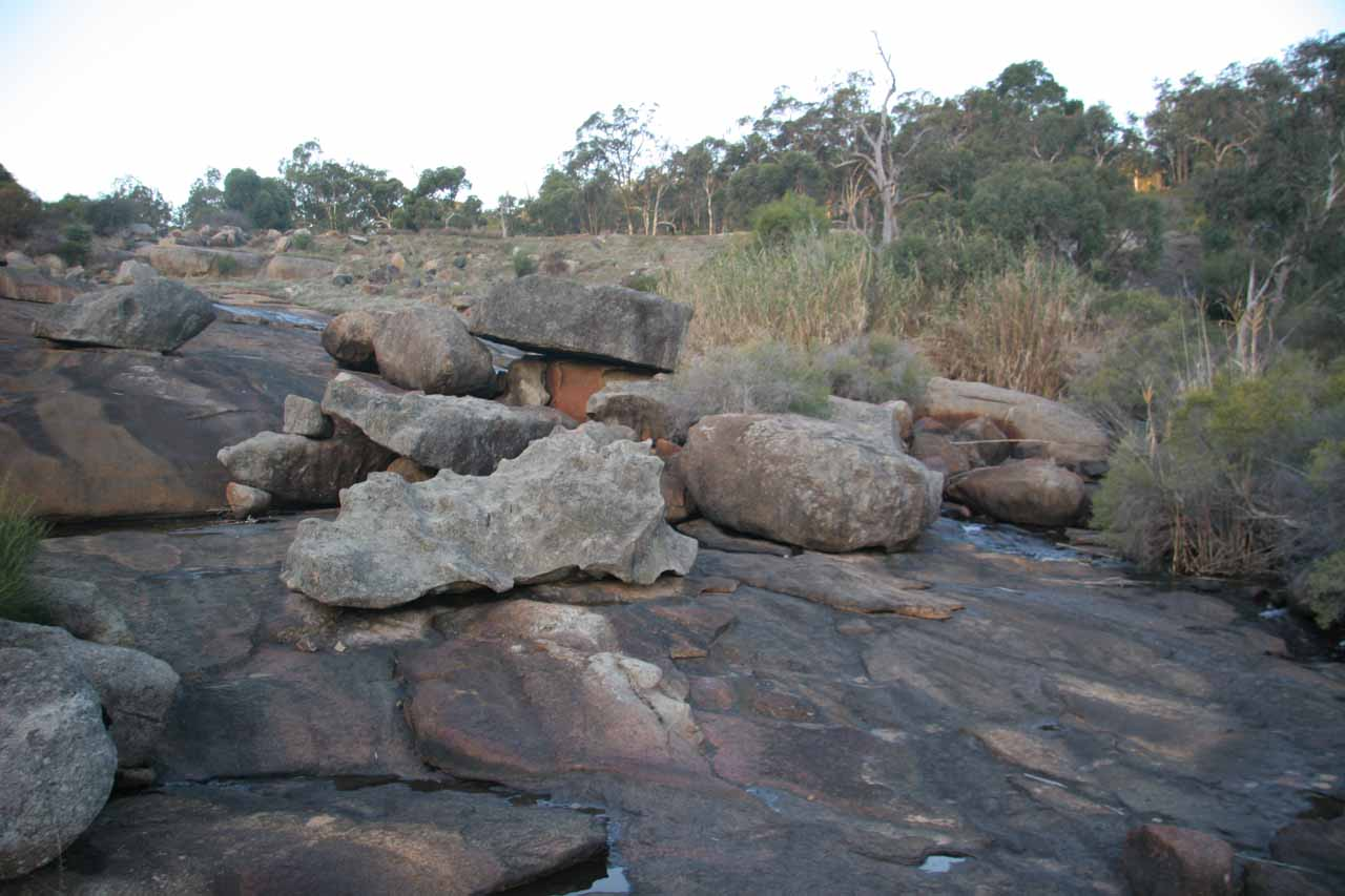 Looking somewhat upstream amongst the jumble of rocks that Hovea Falls was weaving around