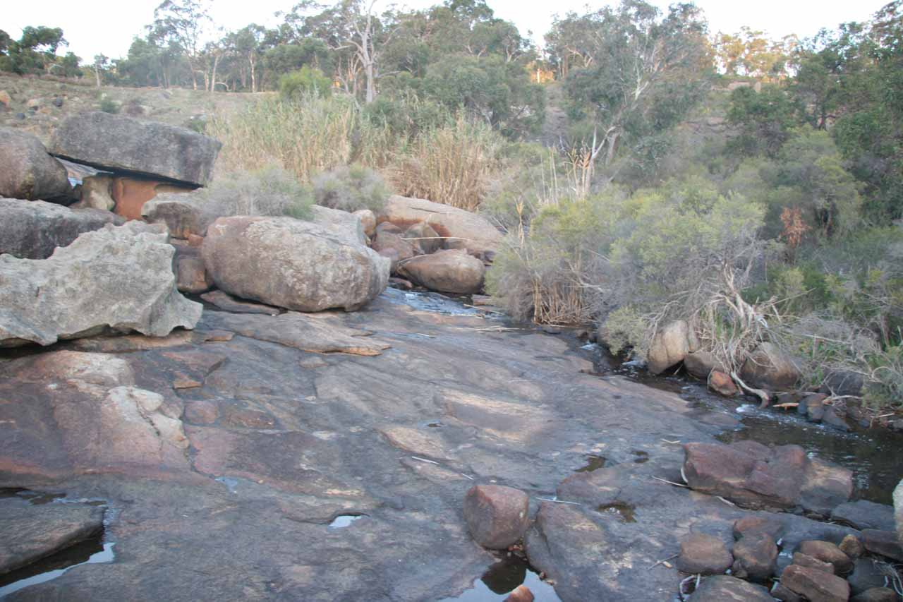 Sideways view of the mostly dry Hovea Falls