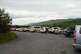 Hraunfossar_005_08182021 - Looking back at the busy car park for Hraunfossar