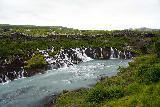 Hraunfossar_009_08182021 - Looking towards the main section of the Hraunfossar Waterfalls