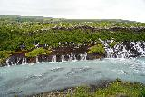 Hraunfossar_011_08182021 - Another look at the main part of the Hraunfossar Waterfalls from the first lookout deck
