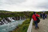 Hraunfossar_012_08182021 - Context of tourists checking out Hraunfossar from the lookout deck