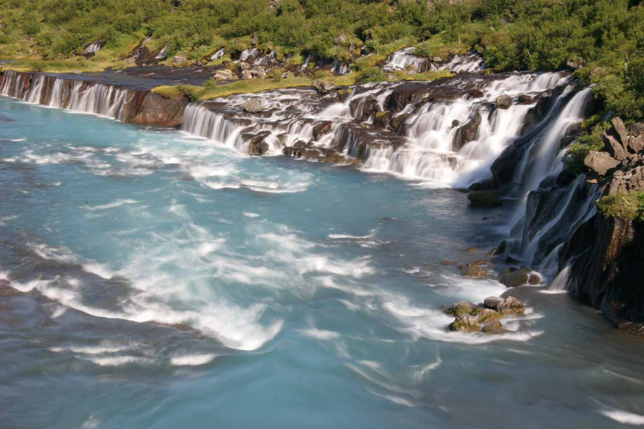 Closer look at the main part of Hraunfossar angled towards the west