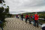 Hraunfossar_034_08182021 - Another look at a tour group inundating the first lookout deck of Hraunfossar