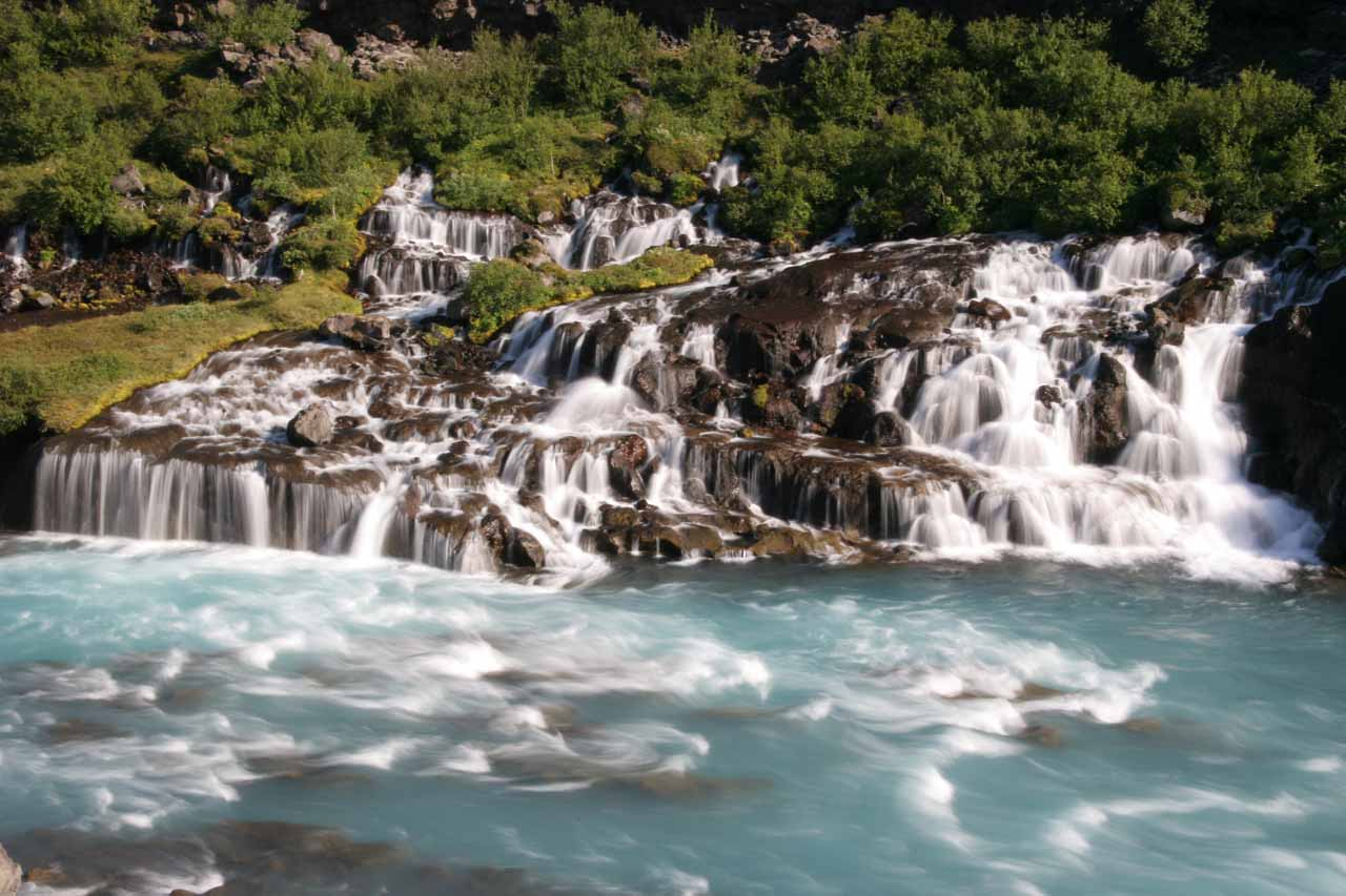 More zoomed in look at the main part of Hraunfossar seen directly