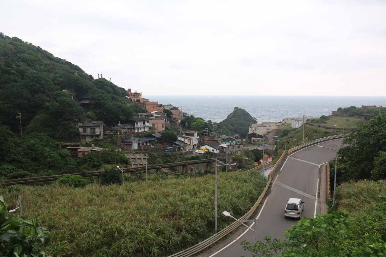 Looking downslope from the Huangjin Waterfall over the road and Jinguashi Town towards the ocean