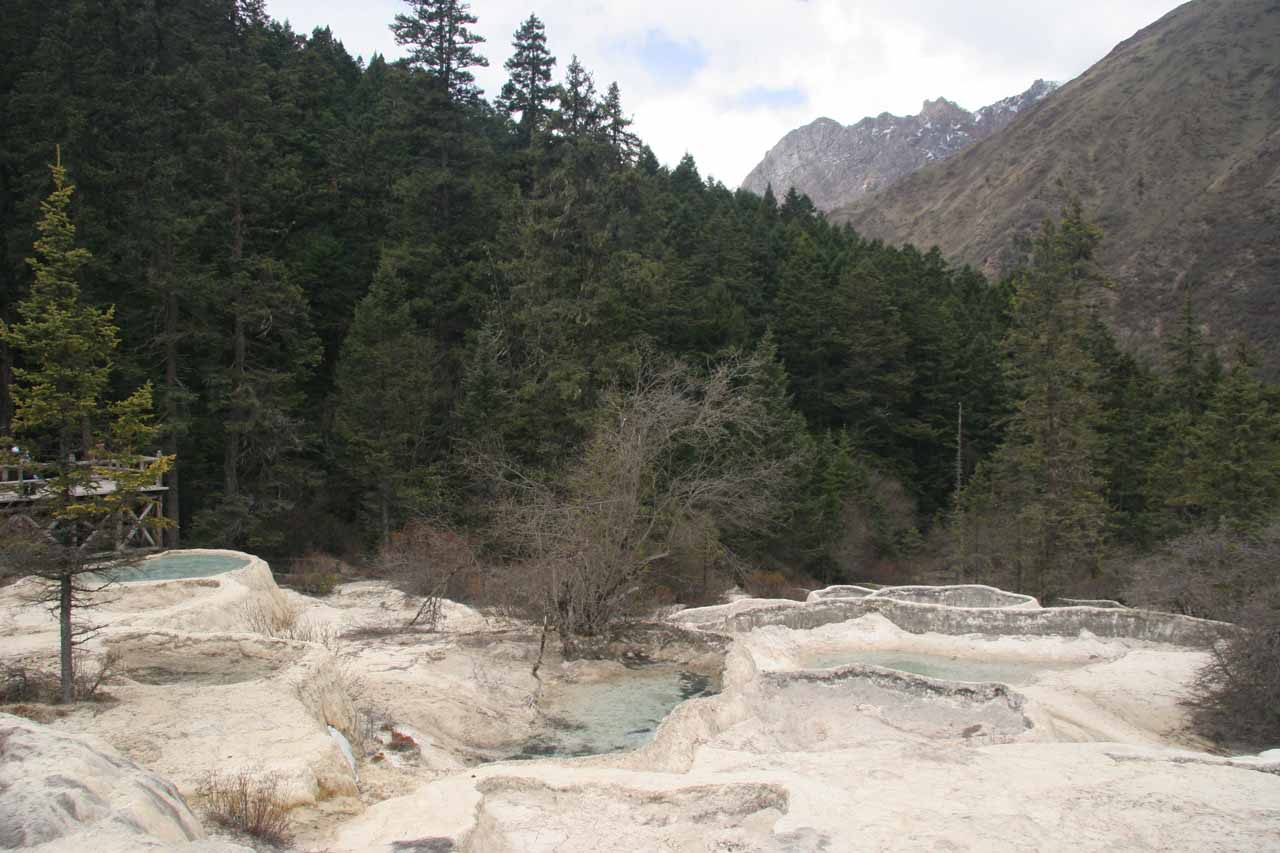 Only some of the travertine pools were filled with water at the bottom of Huanglong