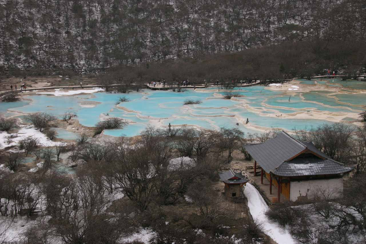 Context of the pools atop Huanglong with some temples