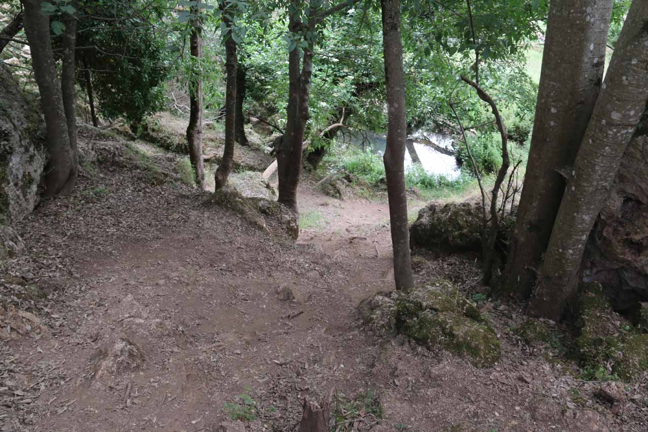 This was the steep trail-of-use that I had to go down (then back up) to reach the base of the second waterfall