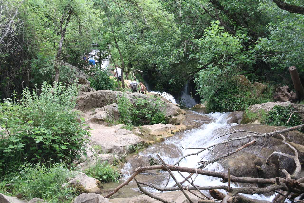 Approaching the third waterfall of the Cascadas del Hueznar