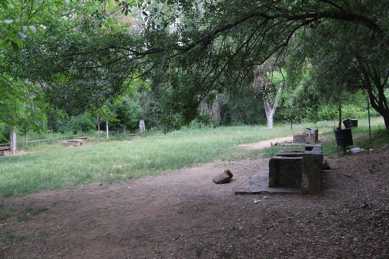 Some picnic area around the third waterfall