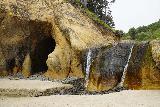 Hug_Pt_007_06232021 - Closeup of the small waterfall at Hug Point