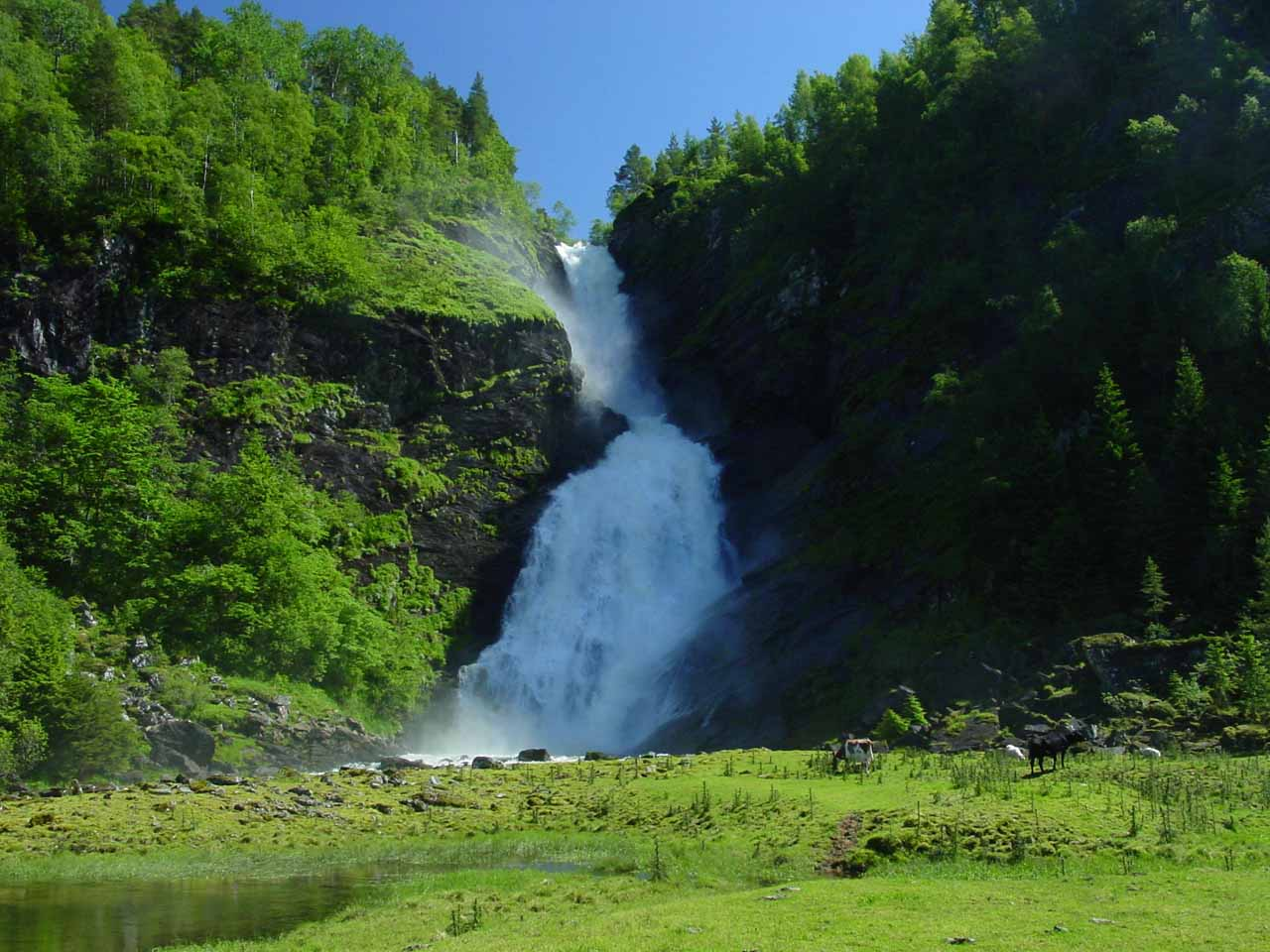 Contextual frontal view of the attractive Huldrefossen in the early afternoon