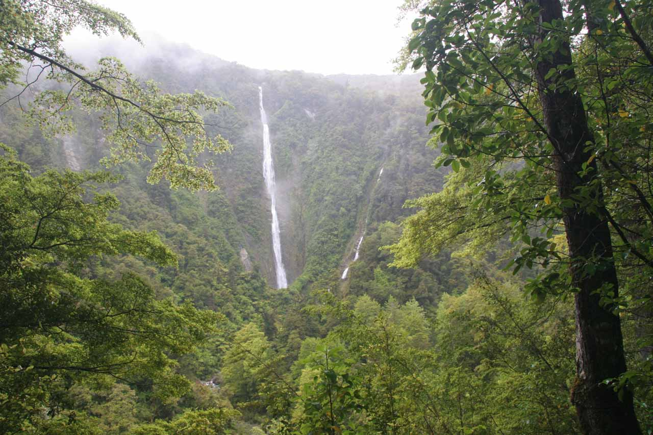 When the clouds finally started to lift, we got this contextual view of Humboldt Falls and its companion