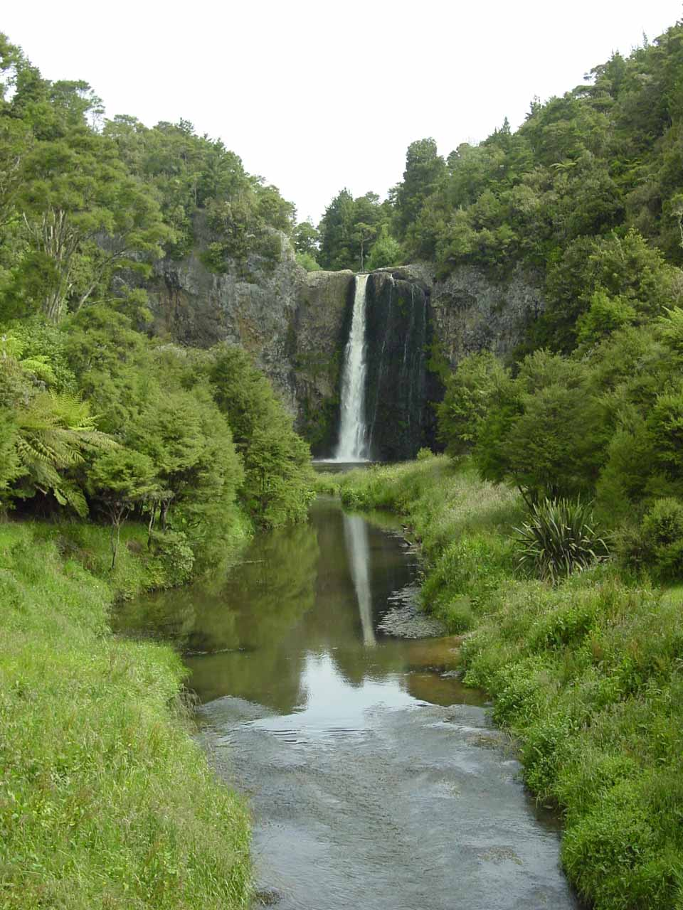 Hunua Falls reflected in the Hunua Stream as seen in December 2004
