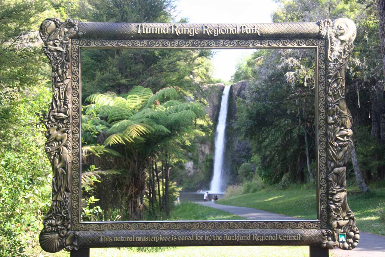 Looking through the Masterpiece Theatre frame towards Hunua Falls on the other side of the car park. We only took advantage of this on our second visit to Hunua Falls