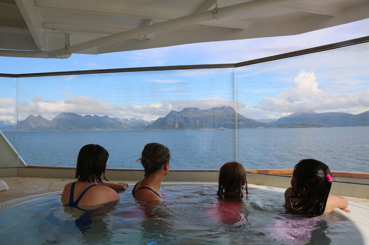 Tahia making Norwegian friends during our return trip to Norway
