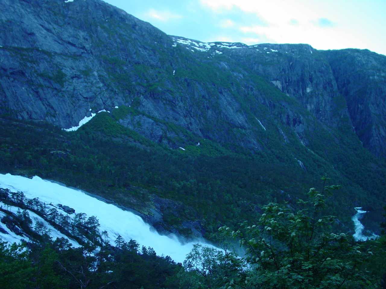 Looking downstream across the bottom part of Nyastølsfossen from the gravel road