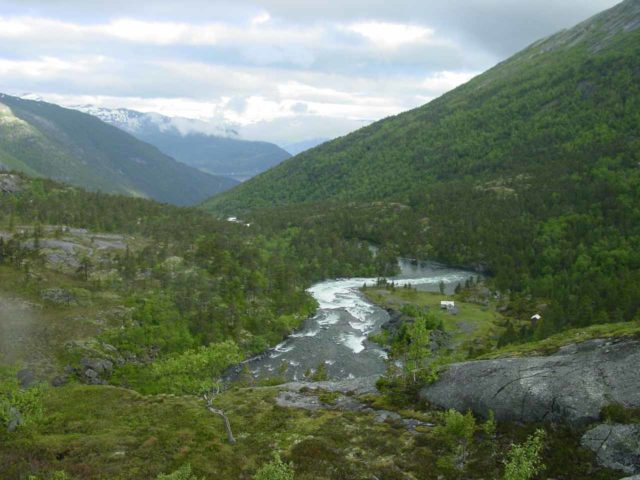 Husedalen_092_06242005 - Looking down from the top of Nykkjesøyfossen into part of Husedalen Valley on the return hike