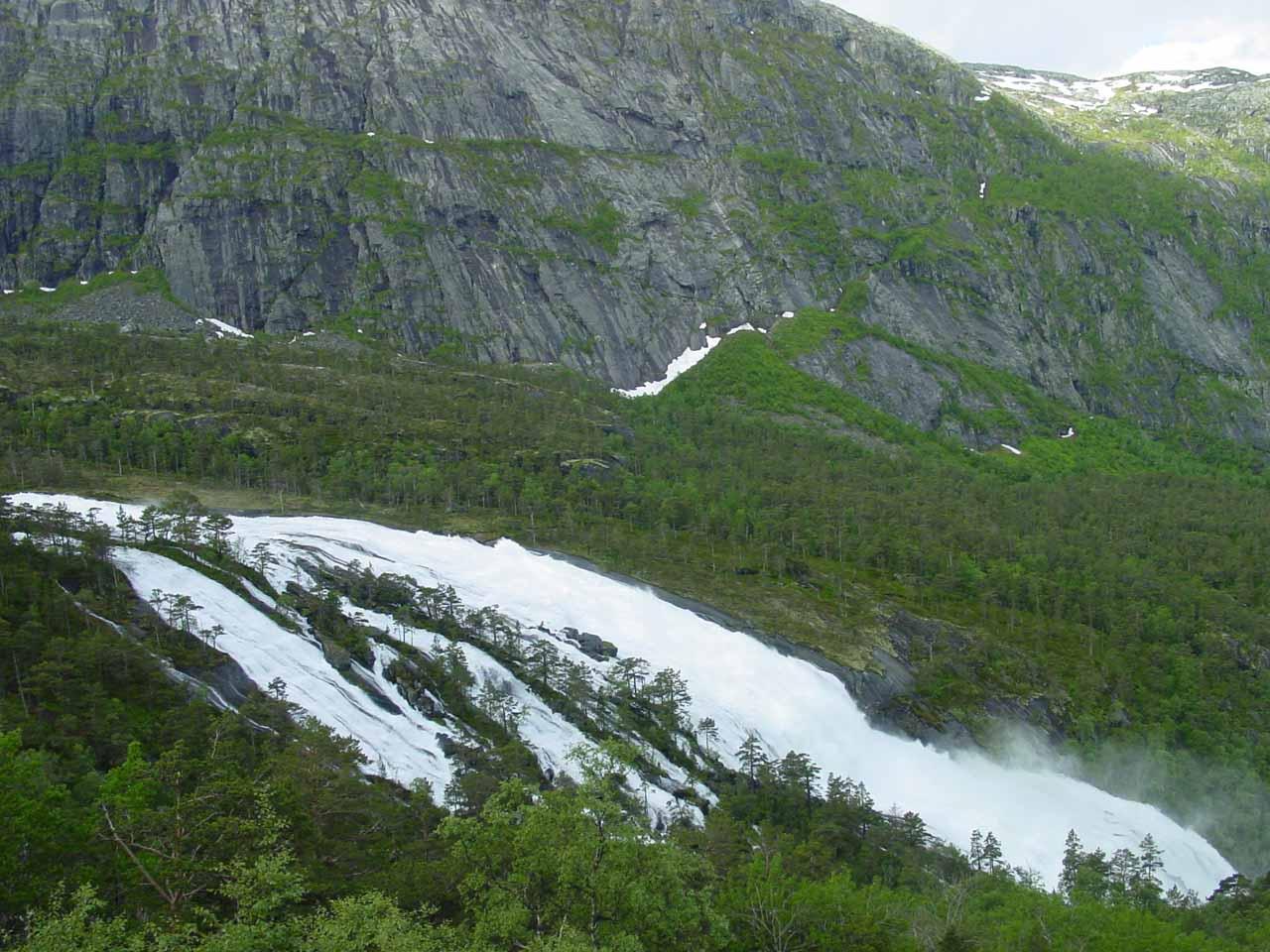 Looking across Nyastølsfossen from the gravel road later that morning on the return hike