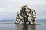 Hvitserkur_008_08152021 - Looking towards the rocky island of Hvitserkur from the rocky beach during high tide