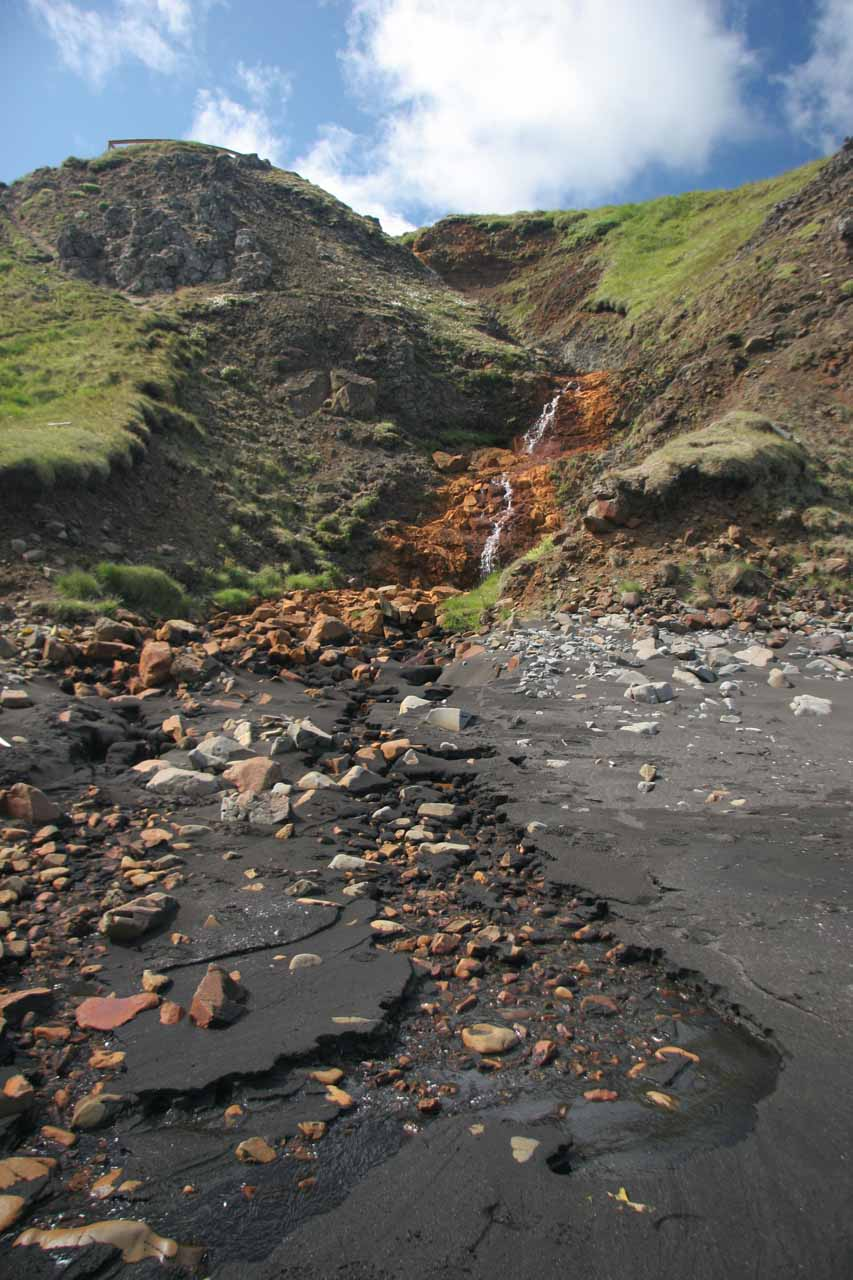 There was a tiny waterfall that spilled onto the black sand beach fronting Hvítserkur (though I don't think that really counts as a waterfall that get its own writeup)