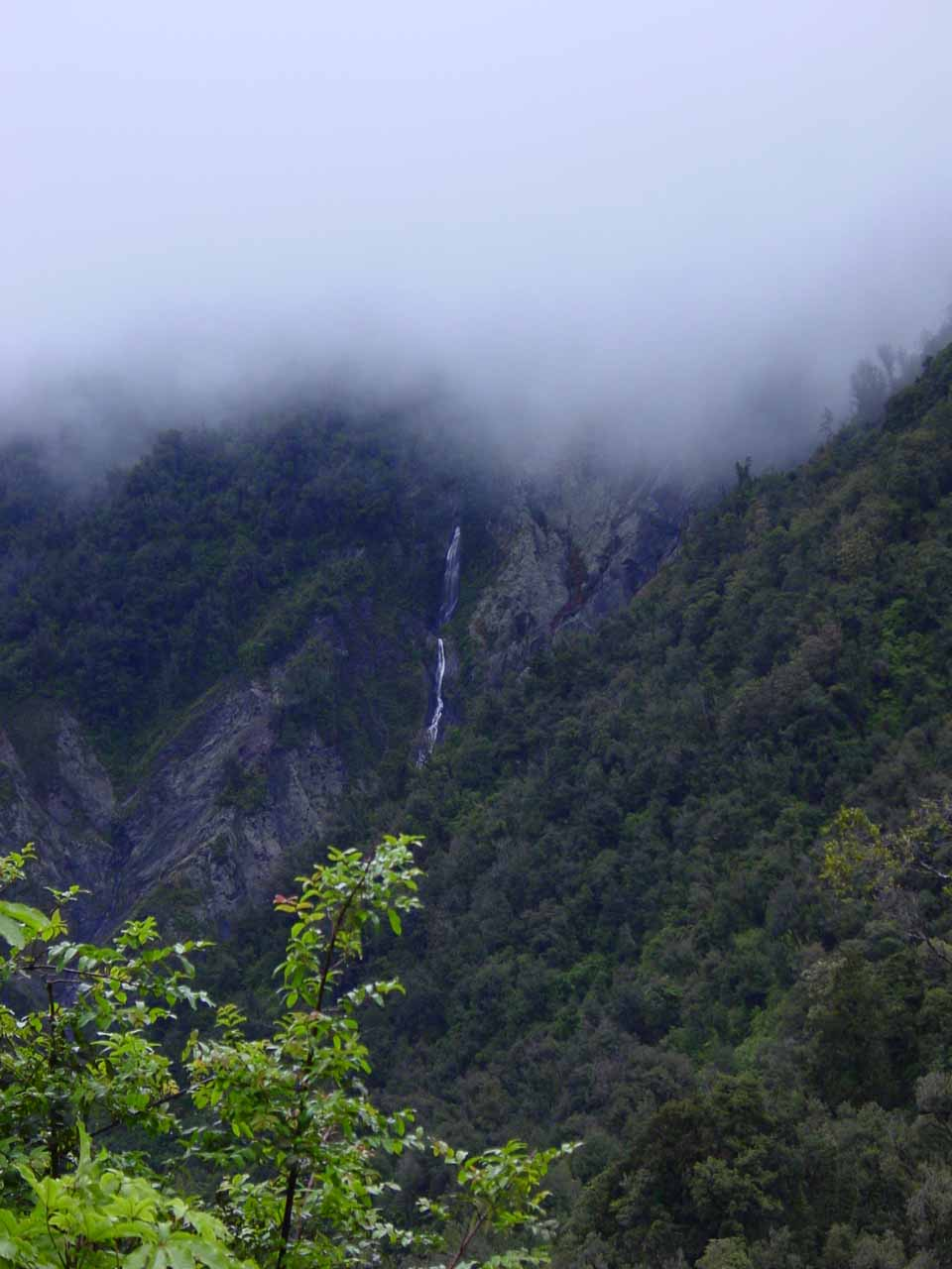 An ephemeral waterfall seen along Hwy 6 between Franz and Fox