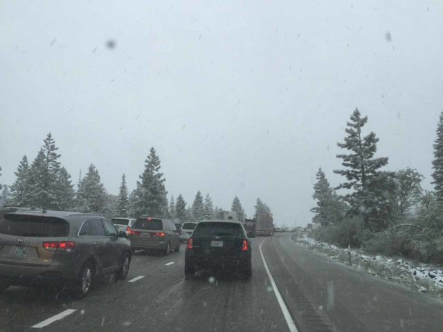 I-80_to_Devils_Falls_008_mom_05202016 - Snow causing a lot of traffic on the I-80 just a couple hours after we had visited Grouse Falls so there was a chance that we could have been stuck in that remote forest had we lingered there longer