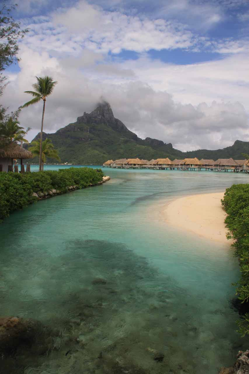 Overwater bungalows at the Intercontinental Thalasso Bora Bora Resort with Mt Otemanu as the backdrop