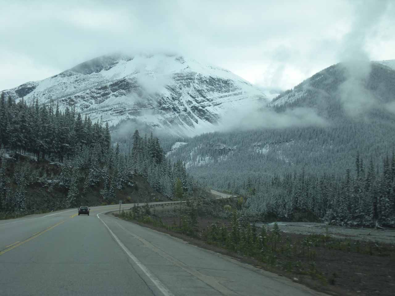 The Icefields Parkway as we were approaching Tangle Falls