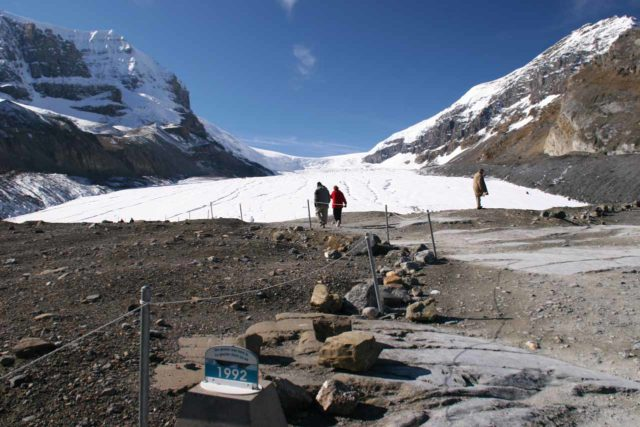 Icefields_Parkway_049_09182010 - Not far from the Sideways Falls was the Columbia Icefields area, which featured the rapidly receding Athabasca Glacier, which this sign here showed just how quickly the recession is happening
