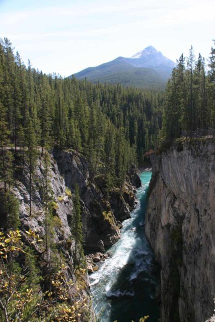Icefields_Parkway_071_09182010 - Looking downstream from the footbridge spanning the deep gorge in front of Sunwapta Falls