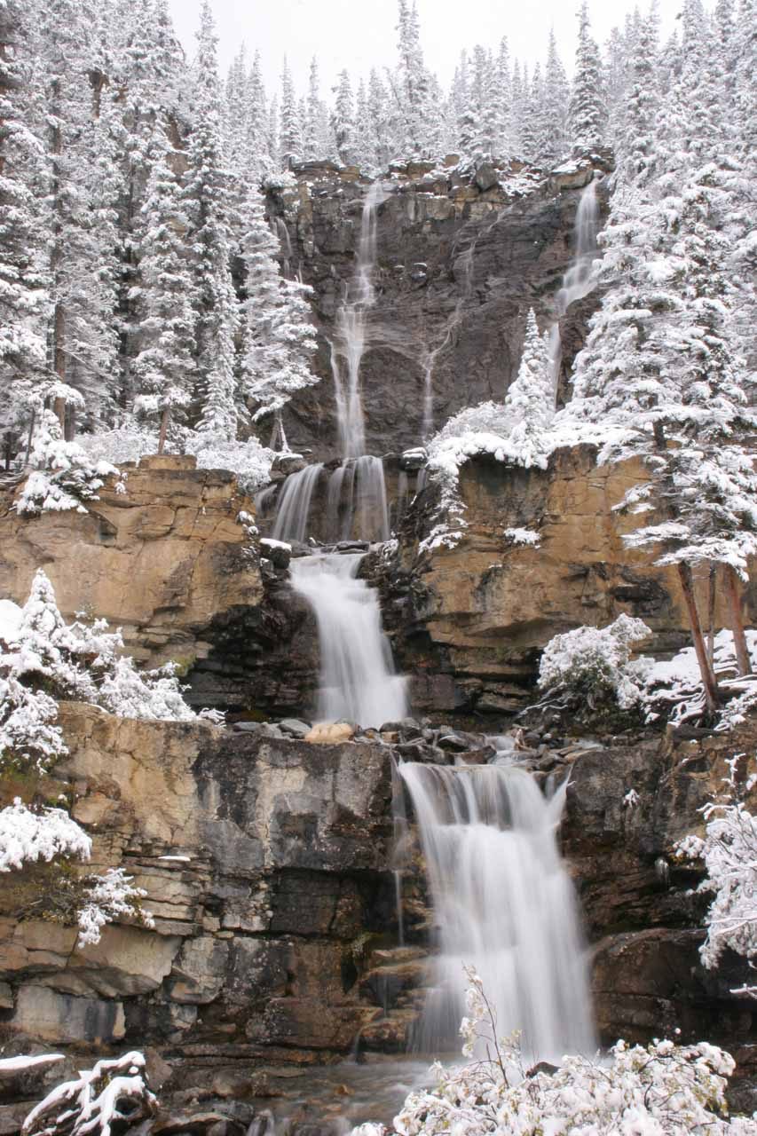 Tangle Falls surrounded by snow