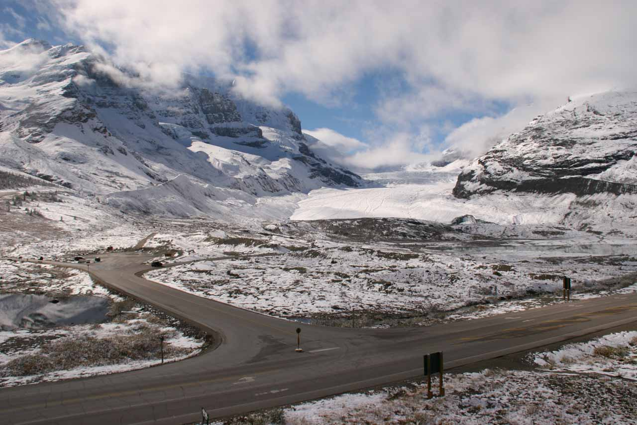 Looking back at the Athabasca Glacier again looking way different than it did 3 days ago