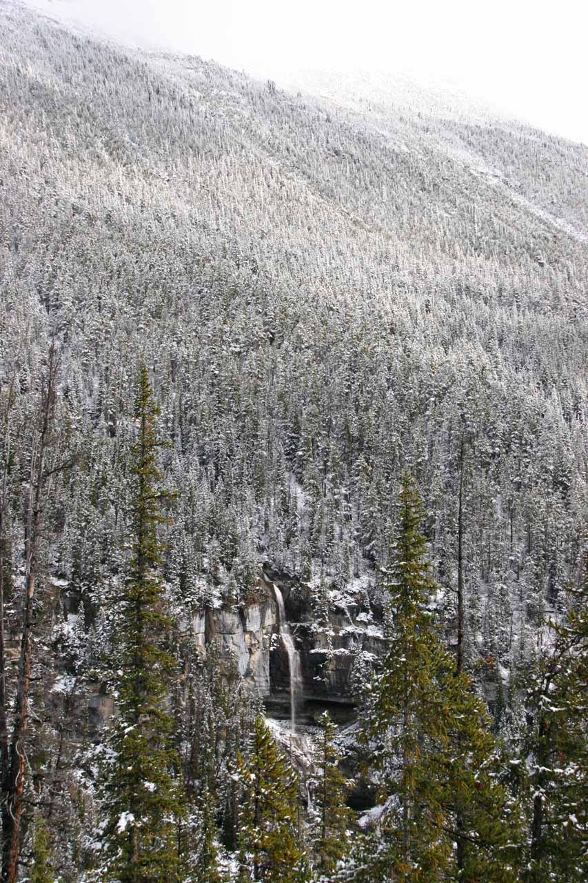 Contextual view of Bridal Veil Falls almost blending in with the snow-covered trees