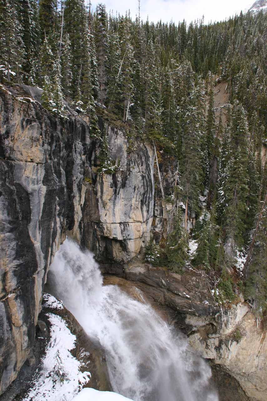 Looking towards the top of Panther Falls from the precarious ledges near the top