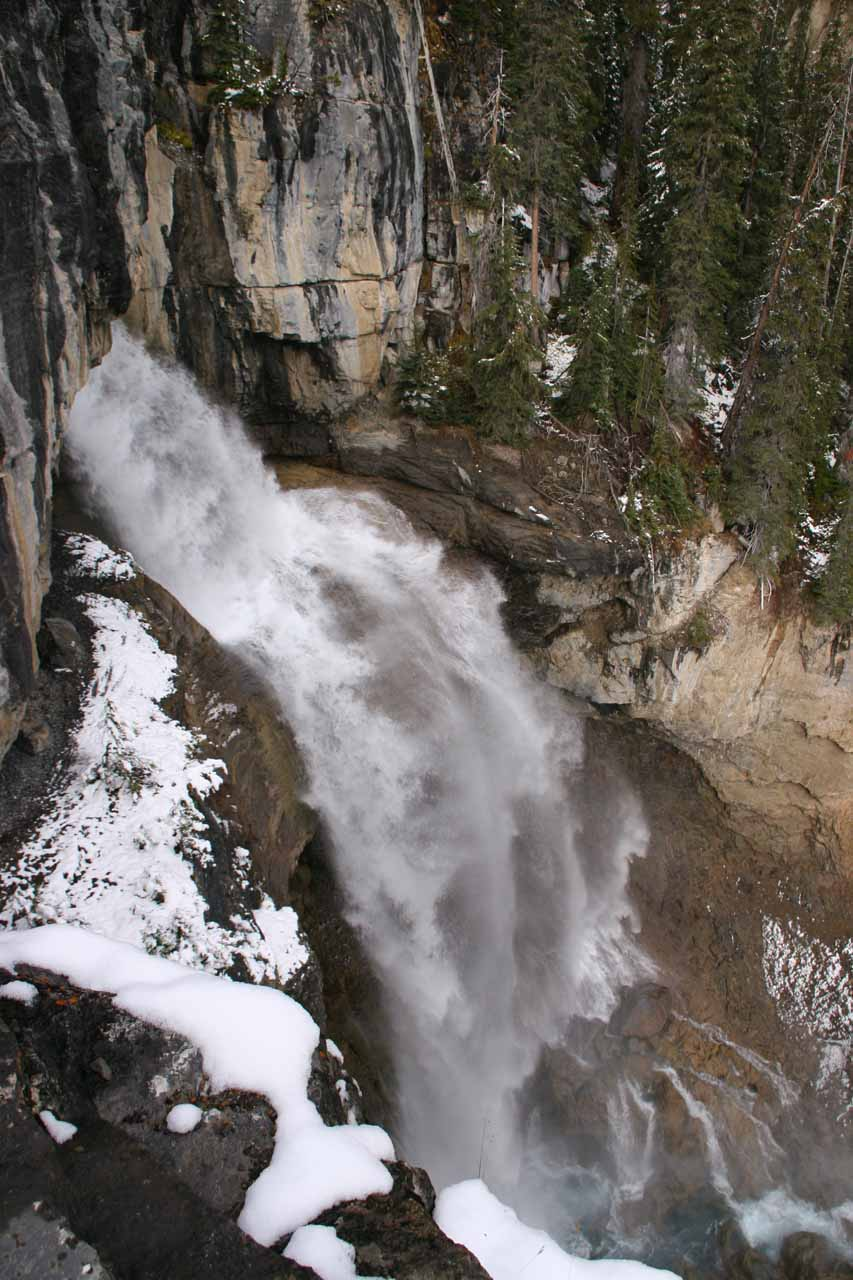 View of the falls from the precarious rock outcrop