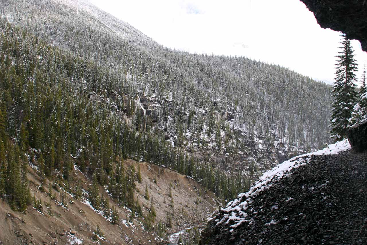 Looking out towards the snow-dusted forest from behind Panther Falls