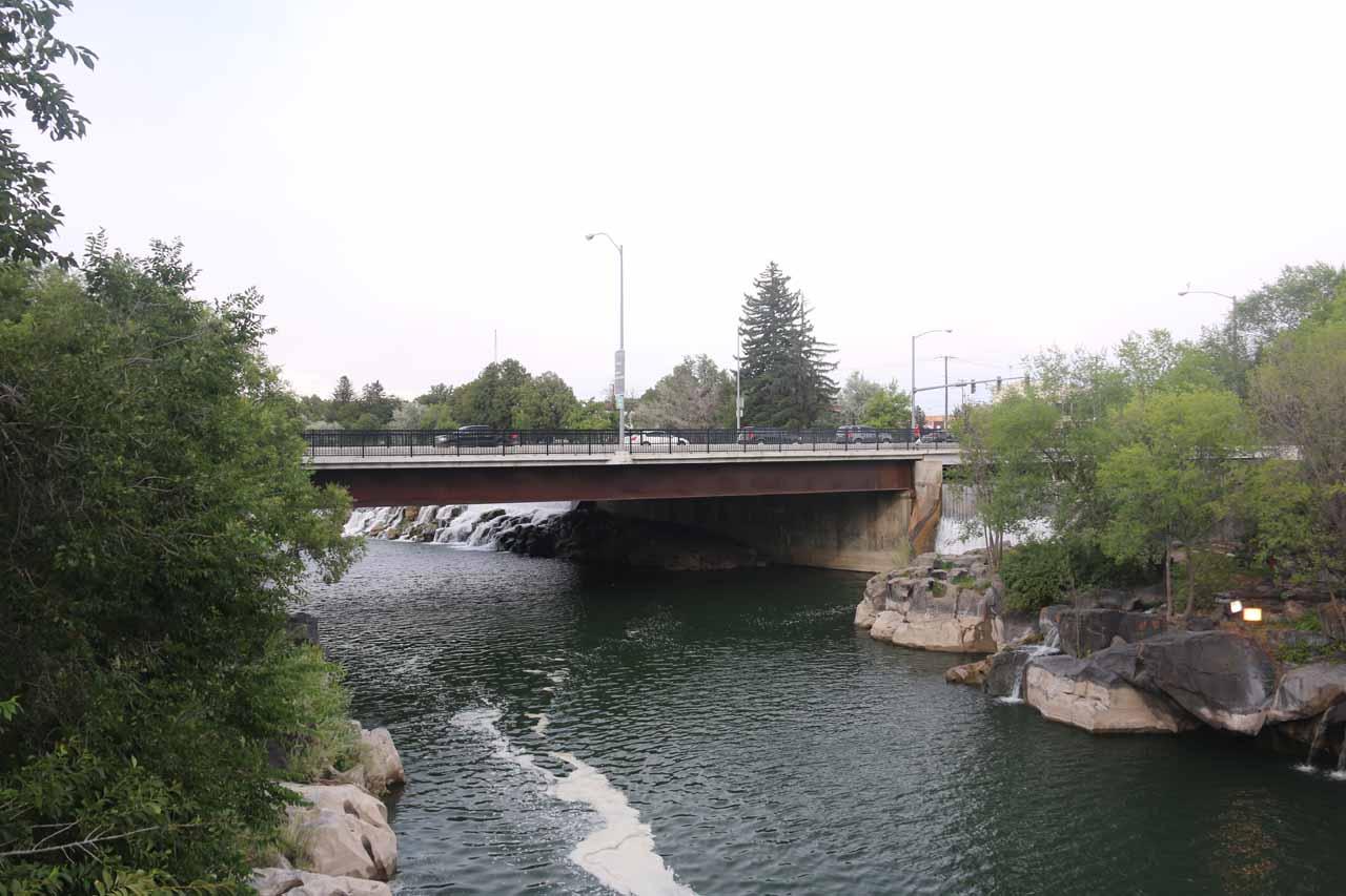 Looking upstream towards the Broadway Street Bridge