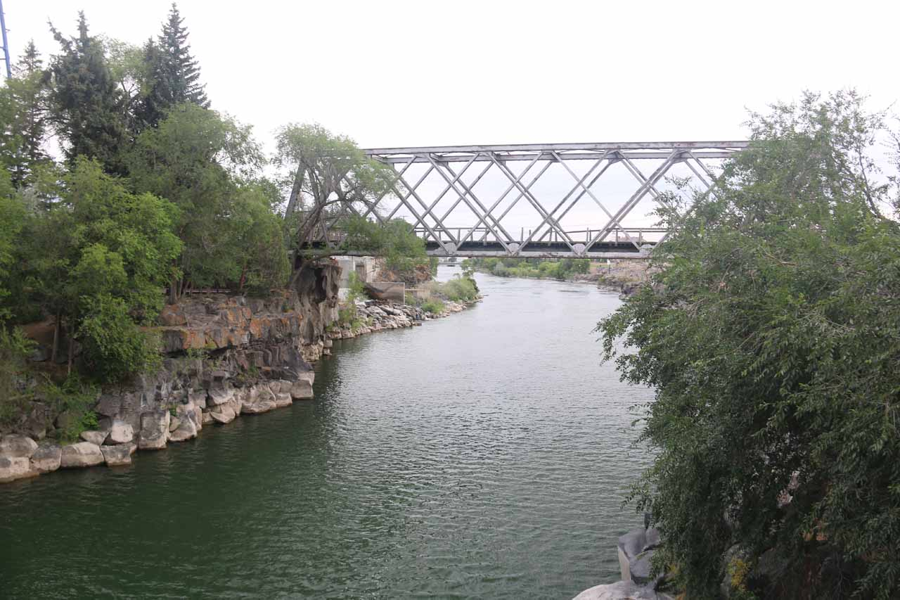 Looking downstream towards some railway bridge