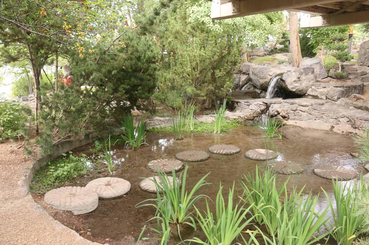 A nice little Japanese Garden beneath the footbridge