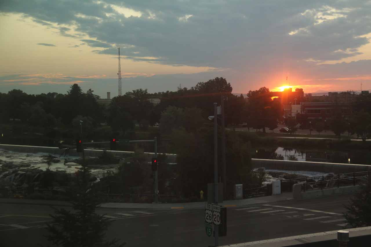 Sunrise looking towards Idaho Falls from our room at the Residence Inn