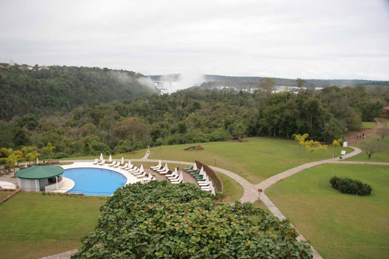 Our first glimpse of Iguazu Falls from our hotel