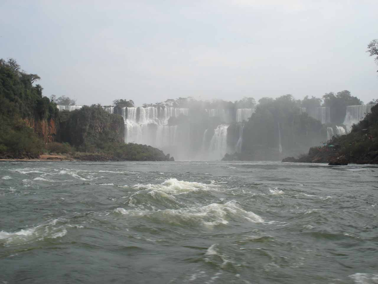 Looking towards the Argentina waterfalls from the middle of the river