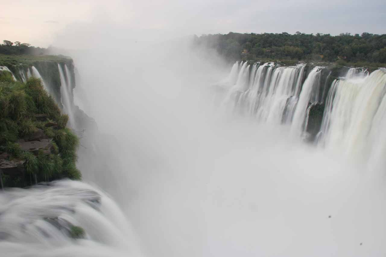Julie and I quickly found our favorite waterfall in the world when we peered into the misty abyss at the Devil's Throat of Iguazu Falls on the border of Argentina and Brazil