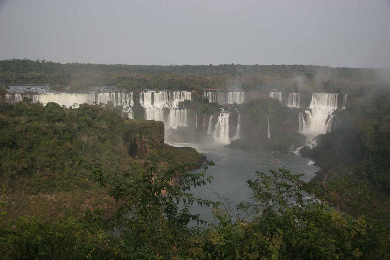 Another distant panorama of the Argentina waterfalls from Brazil