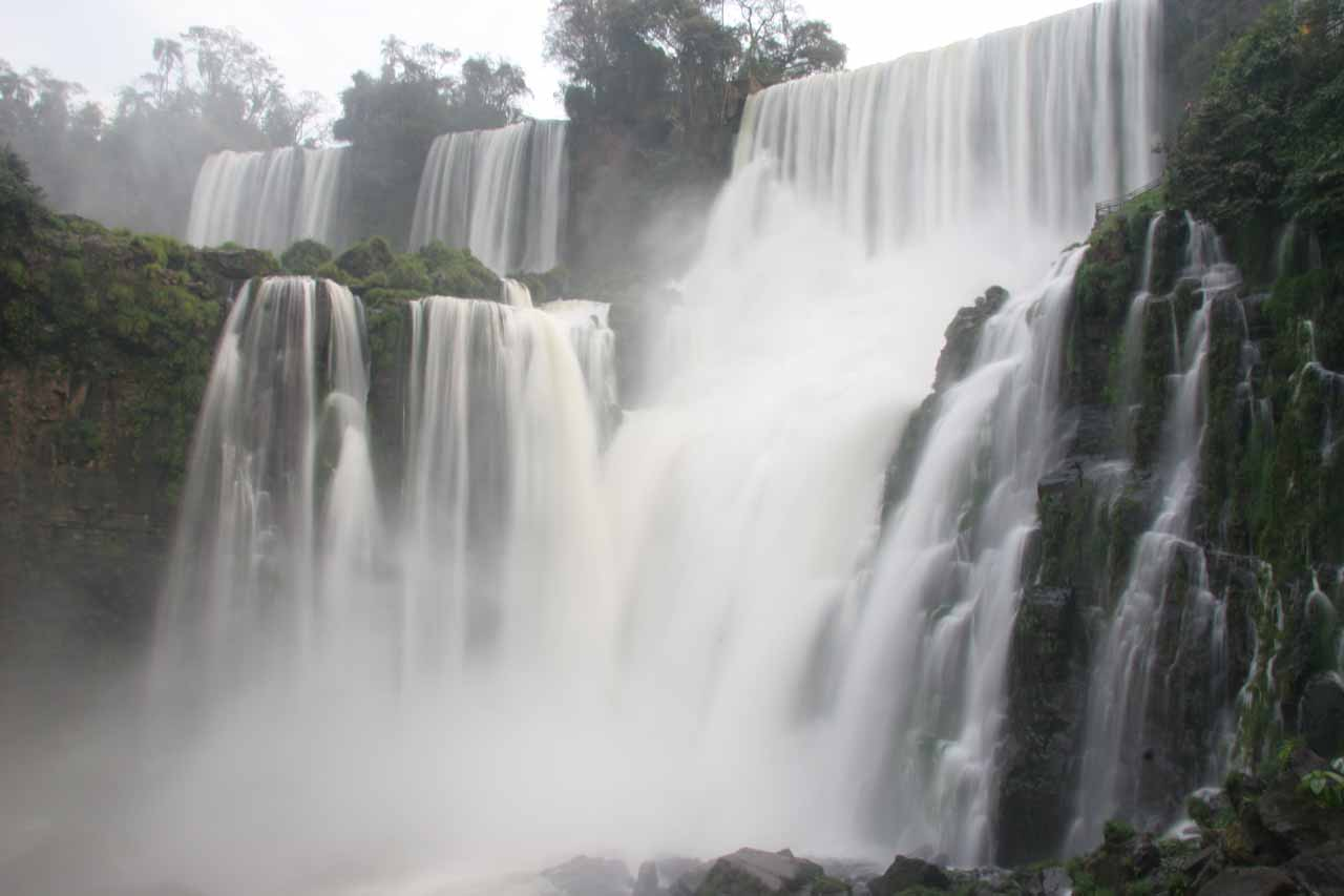 One of the many waterfalls comprising Iguazu Falls on the border of Argentina and Brazil