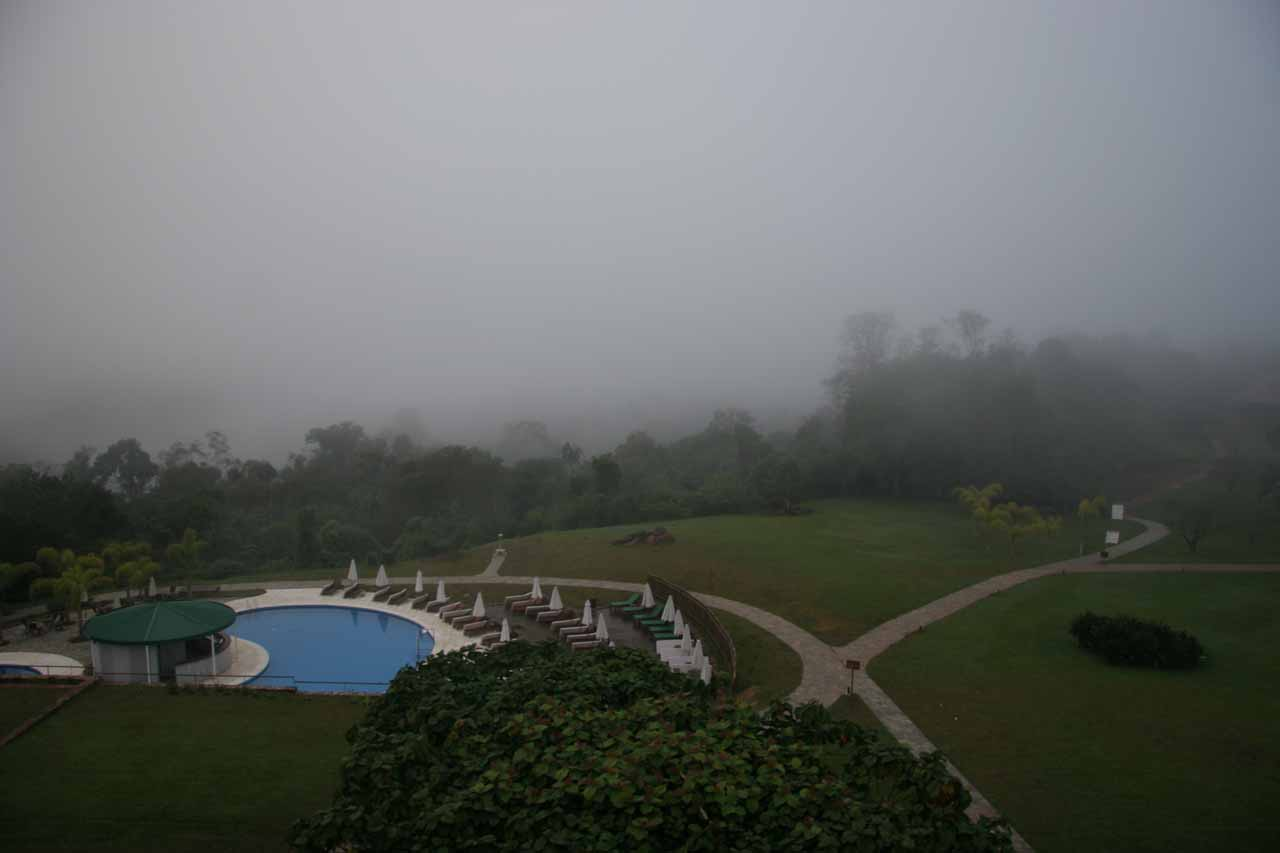 Foggy morning view from our hotel room