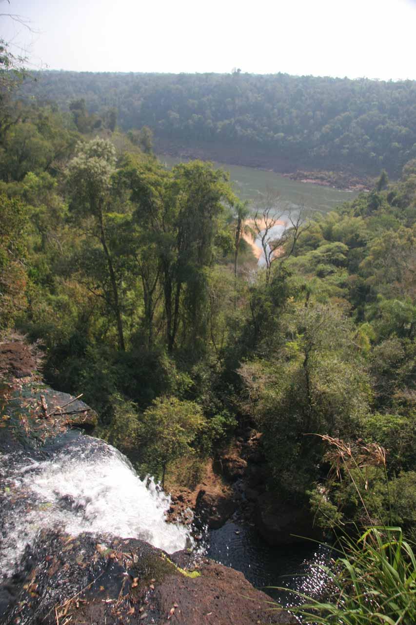 Looking towards the Río de Iguazú from the top of Salto Arrechea